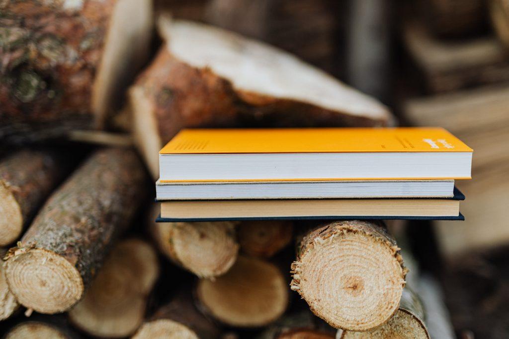 Books on logs, symbolizing resources
